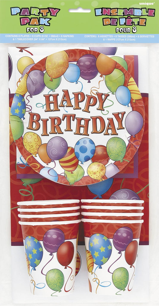 Birthday Balloons - Party Pak For 8 - Party Perfecto