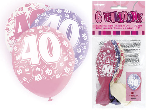 6 Pink 40th Glitz Latex Balloons