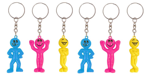 6 Smiley Men Keyrings