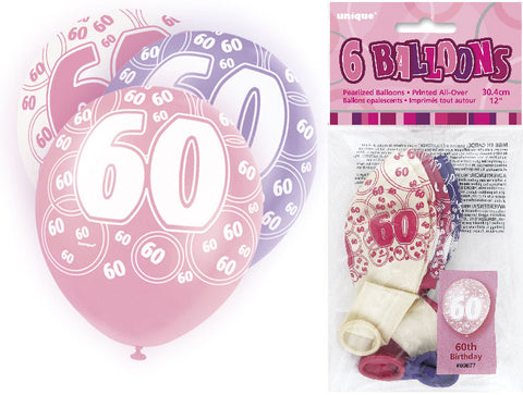 6 Pink 60th Glitz Latex Balloons
