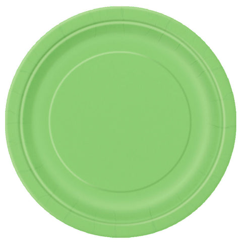 "16 Lime Green Round 9"" Paper Plates - Party Perfecto"