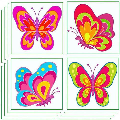 6 Butterfly Temporary Glitter Tattoos