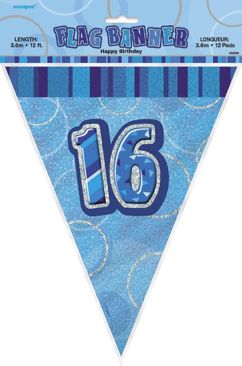 16th Blue Glitz Bunting - Party Perfecto