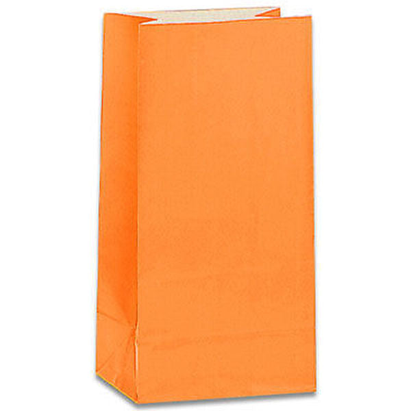 12 Orange Paper Gift Bags - Party Perfecto