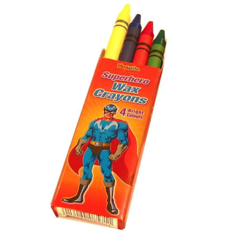 6 Packets Of Super Hero Wax Crayons