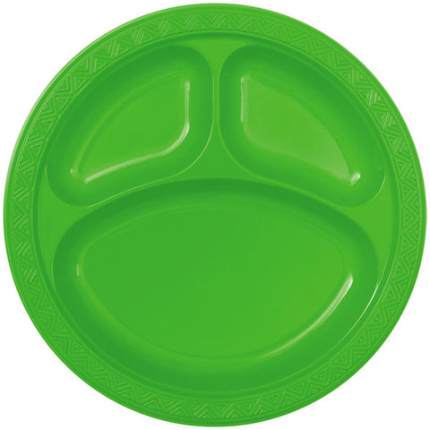 "6 Lime Green Plastic 10"" Compartment Plates"
