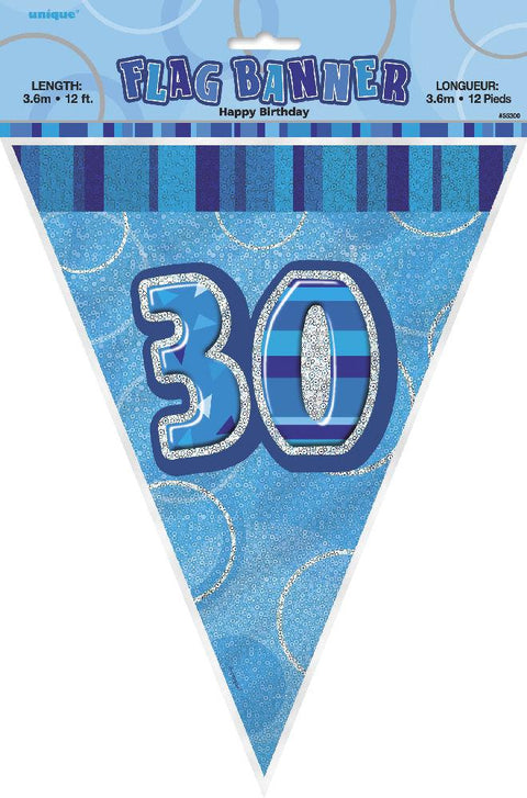 30th Blue Glitz Bunting - Party Perfecto