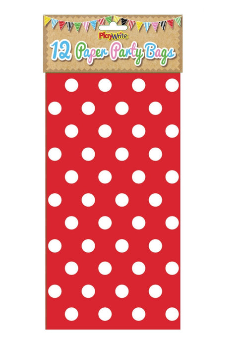12 Red Polka Dot Paper Bags