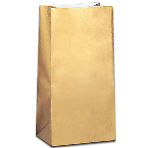 10 Gold Paper Gift Bags - Party Perfecto
