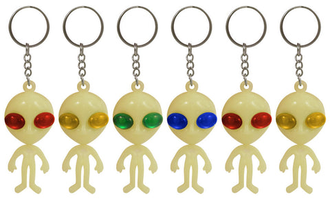 6 Glow In The Dark Alien Keyrings