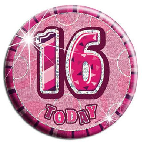 16 Today - Pink Big Badge - Party Perfecto