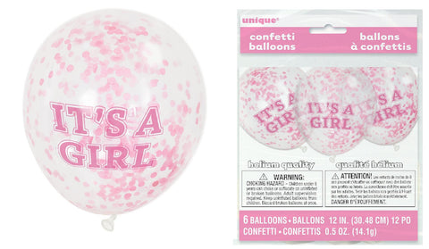 It's A Girl Confetti Balloons