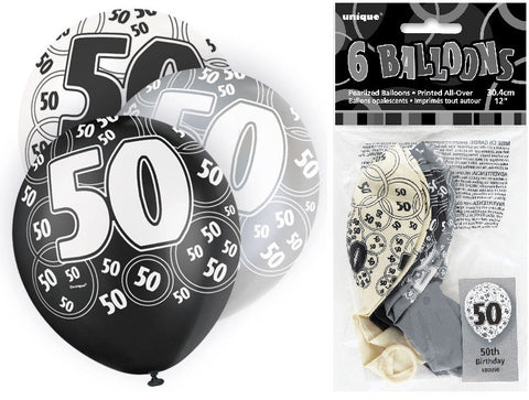 6 Black 50th Glitz Latex Balloons
