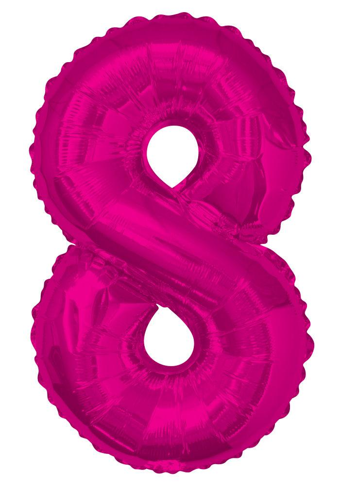 "8 - Pink 34"" Numeral Balloon - Party Perfecto"