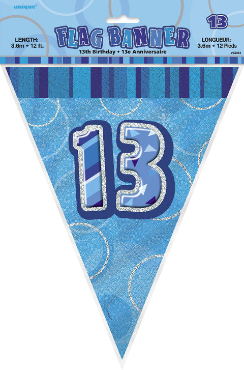 13th Blue Glitz Bunting - Party Perfecto