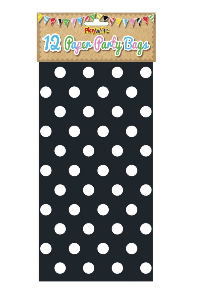 12 Black Polka Dot Paper Bags - Party Perfecto