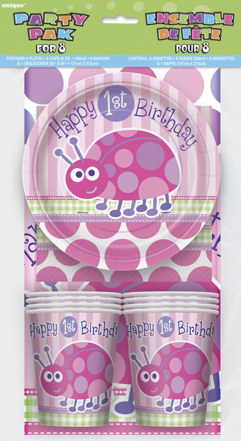 First Birthday Ladybug - Party Pak For 8 - Party Perfecto