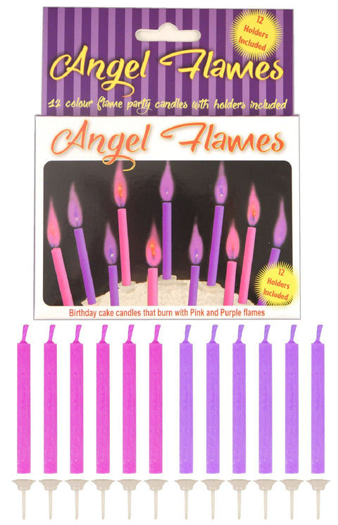 12 Pink & Purple Angel Flames Candles - Party Perfecto
