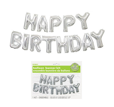 Happy Birthday Balloon Banner Kit (Silver)