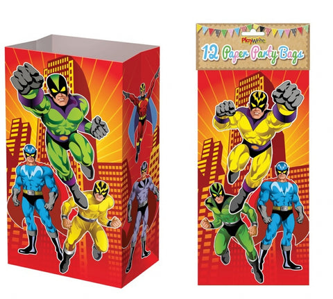 12 Super Hero Paper Bags - Party Perfecto