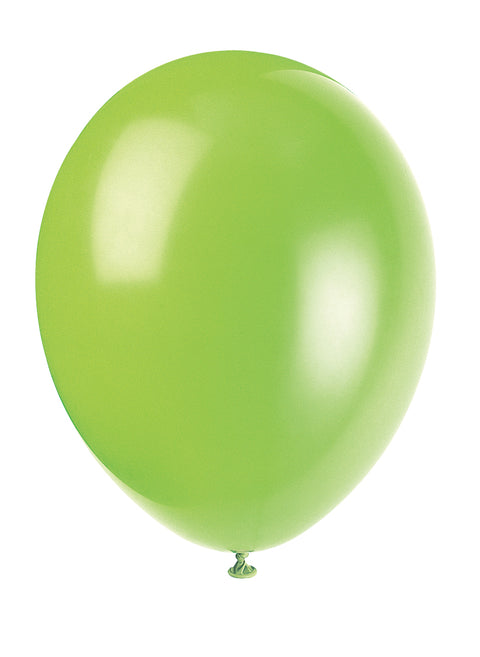 10 Neon Lime Green Latex Balloons - Party Perfecto