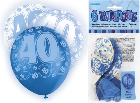 6 Blue 40th Glitz Latex Balloons
