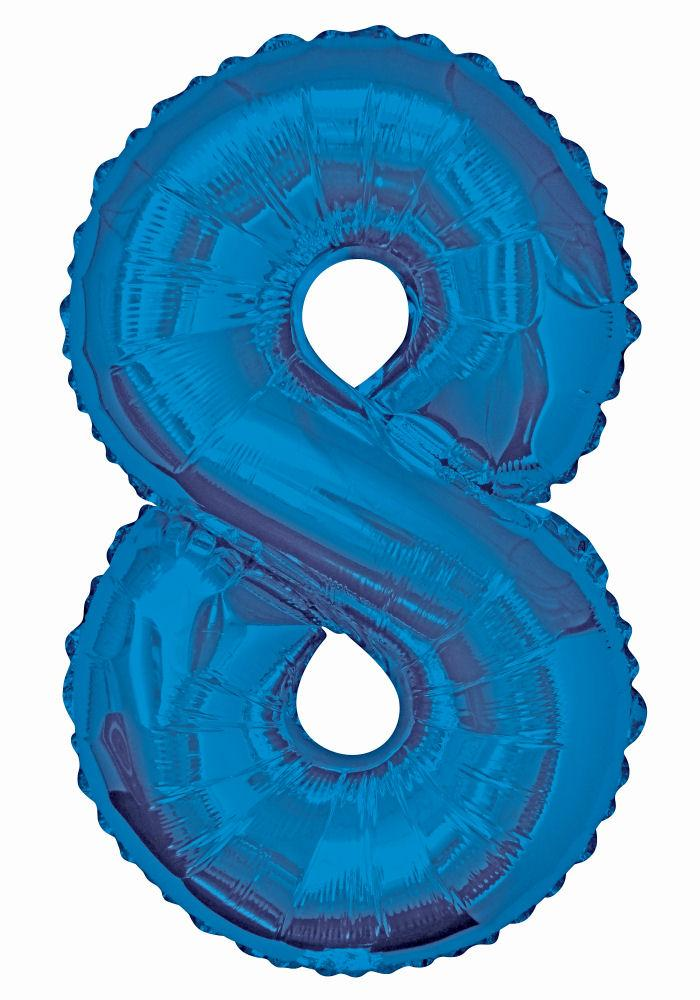 "8 - Blue 34"" Numeral Balloon - Party Perfecto"