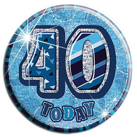 40 Today - Blue Big Badge - Party Perfecto