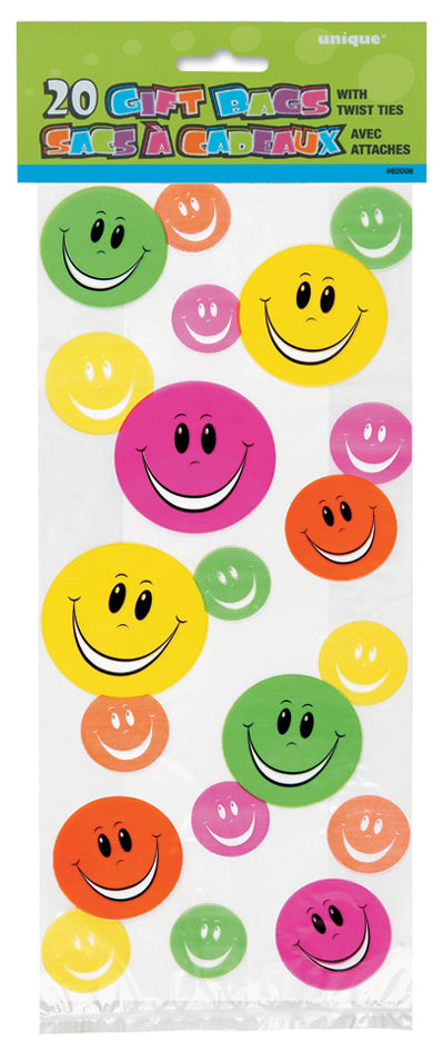 20 Happy Face Cellophane Gift Bags