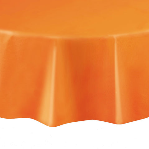 "Orange Round 84"" Plastic Tablecover"