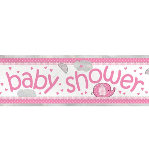 Pink Baby Shower 12ft Foil Banner