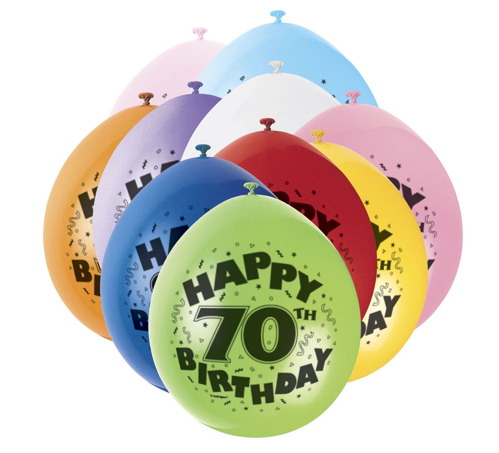 70th Birthday Latex Balloons - 10 Pack - Party Perfecto