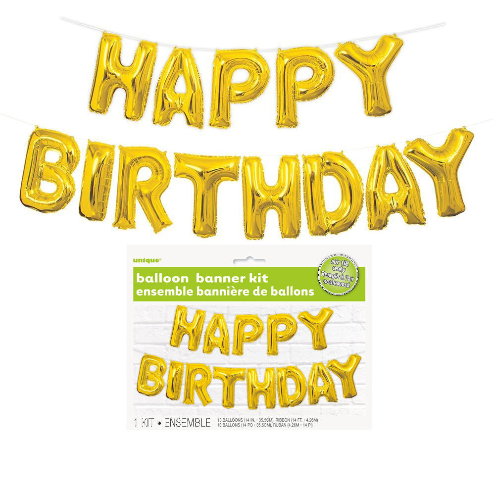 Happy Birthday Balloon Banner Kit Gold