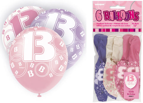 6 Pink 13th Glitz Latex Balloons