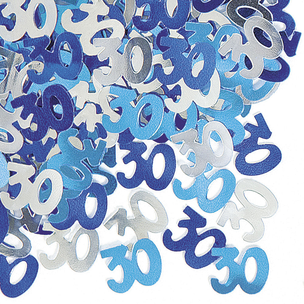 30th Blue Glitz Confetti