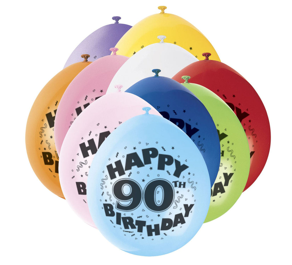 90th Birthday Latex Balloons - 10 Pack