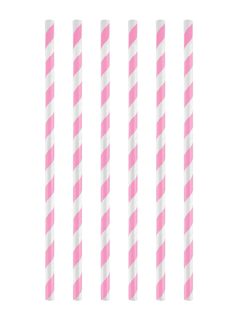 12 Pink Stripe Paper Straws - Party Perfecto