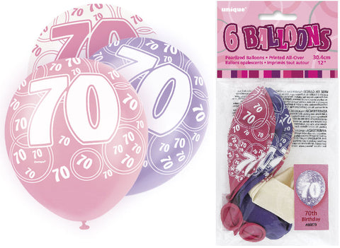 6 Pink 70th Glitz Latex Balloons