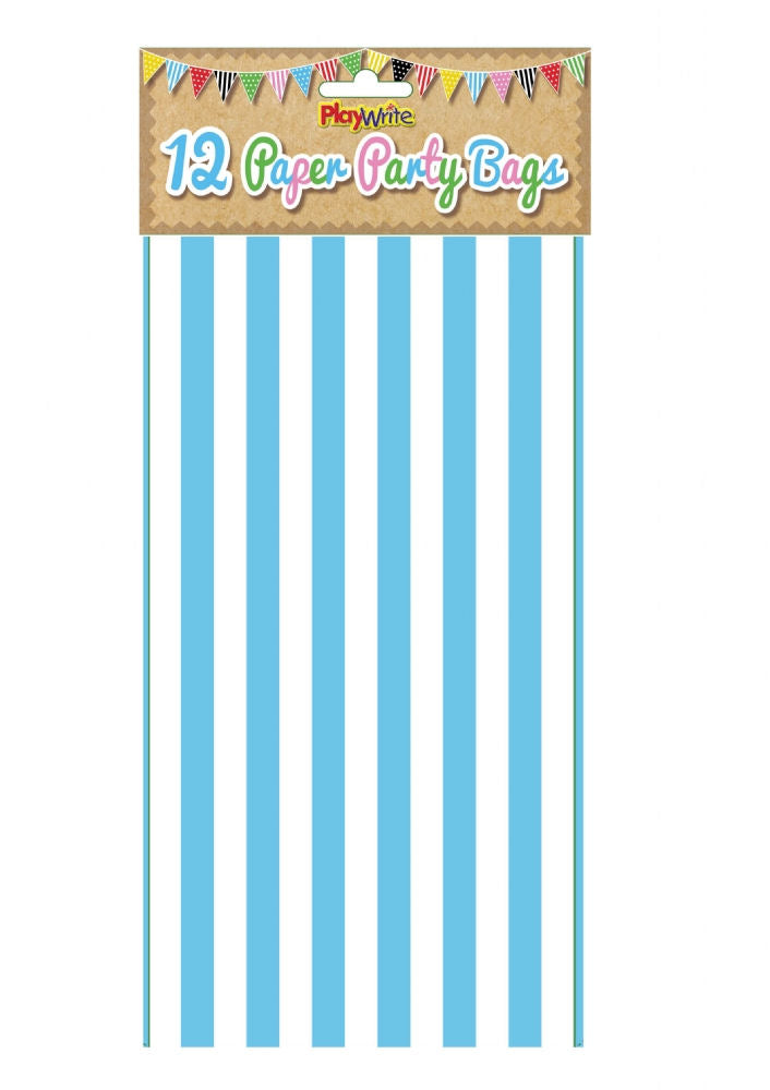12 Blue Stripe Paper Bags - Party Perfecto