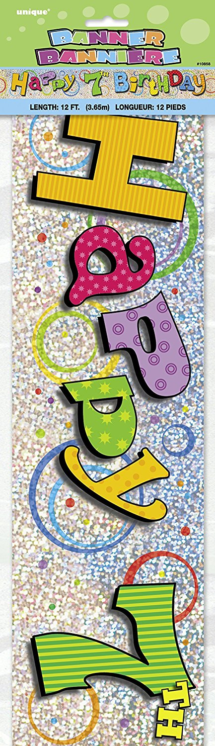 Happy 7th Birthday 12ft Holographic Foil Banner