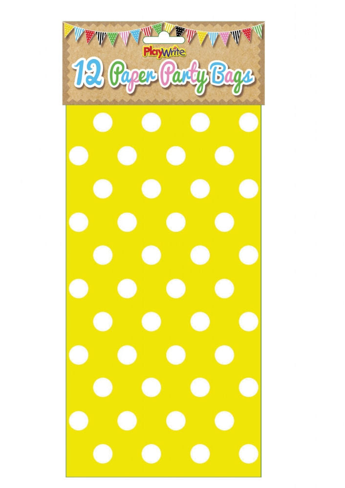 12 Yellow Polka Dot Paper Bags - Party Perfecto