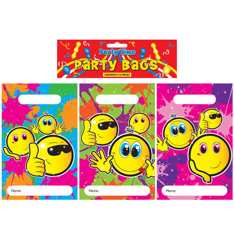 12 Smiley Face Empty Party Bags