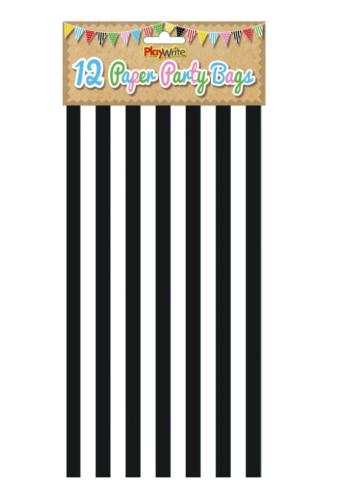 12 Black Stripe Paper Bags - Party Perfecto