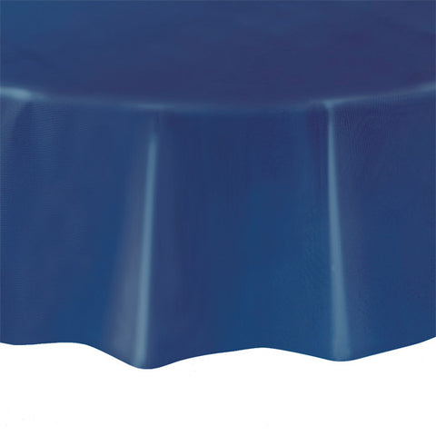 "Navy Blue Round 84"" Plastic Tablecover"