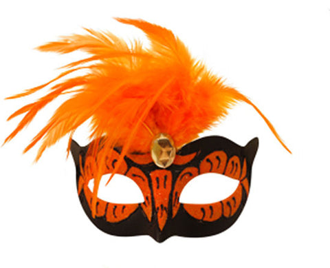 Neon Orange Mask With Feathers