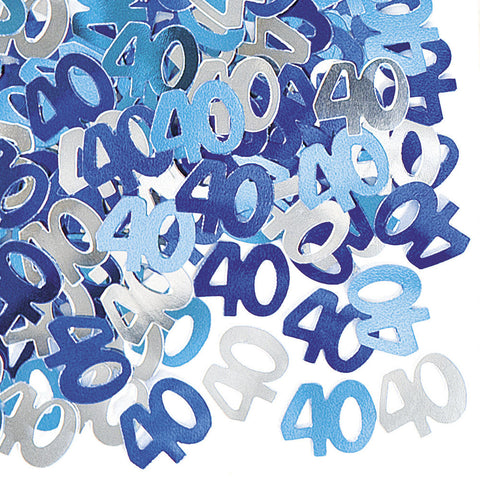40th Blue Glitz Confetti