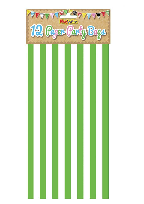 12 Green Stripe Paper Bags - Party Perfecto