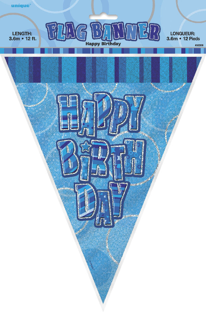 Happy Birthday Blue Glitz Bunting