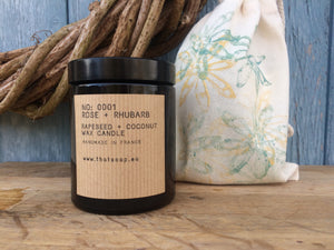 No: 0001 Rose + Rhubarb Candle