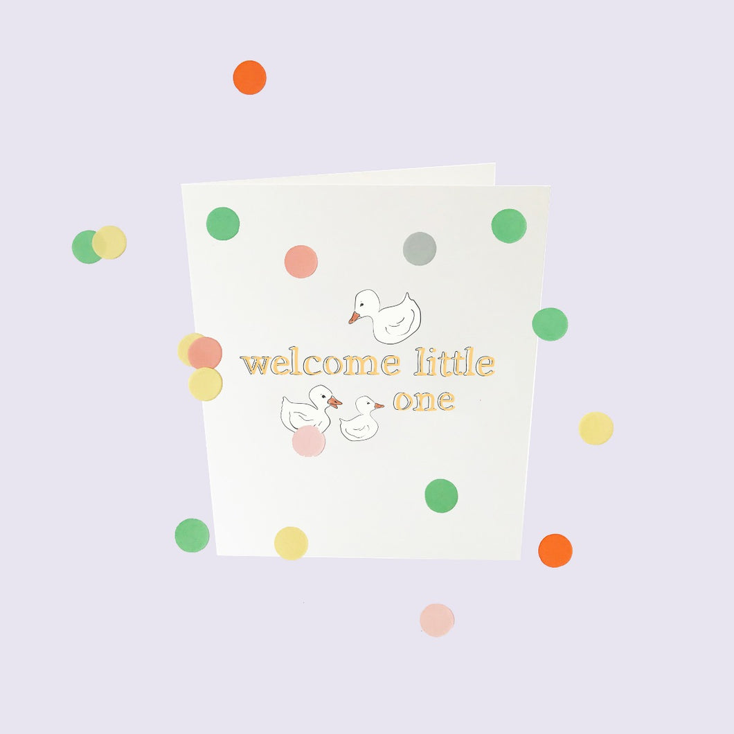 Confetti card 'Welcome little one'